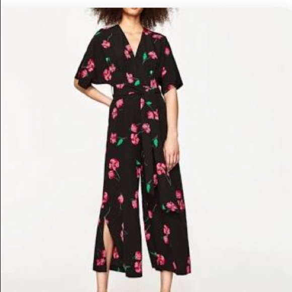 2304b189b1c0 Zara crepe black pink floral jumpsuit with sash M.  M 5ac0345da825a638f033e6a9